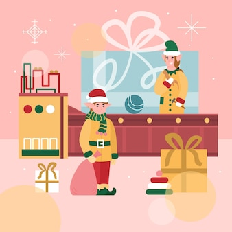 Christmas banner or poster with santas toys factory cartoon