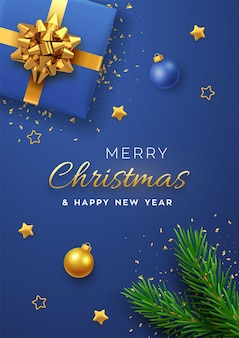 Christmas banner. realistic blue gift box with golden bow, pine branches, gold stars and glitter confetti, balls bauble. xmas background, cover, poster, greeting cards, headers website. vector.