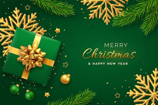 Christmas banner. realistic gift box with golden bow, shining snowflake, gold stars, pine branches, confetti, balls. xmas green background, horizontal poster, greeting cards, headers website. vector.