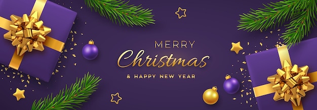 Christmas banner. realistic gift boxes with golden bow, gold stars, balls and pine branches. ppurple xmas background, horizontal christmas poster, greeting cards, headers website. vector illustration.