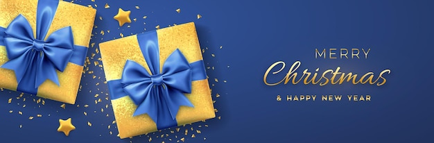 Christmas banner. realistic golden gift boxes with blue bow, gold stars and glitter confetti. xmas background, horizontal christmas poster, greeting cards, headers website. vector illustration.