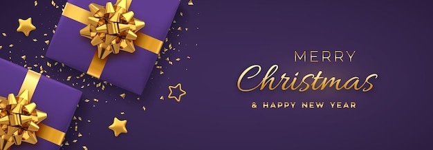 Christmas banner. realistic purple gift boxes with golden bow, gold stars and glitter confetti. xmas background, horizontal christmas poster, greeting cards, headers website. vector illustration.