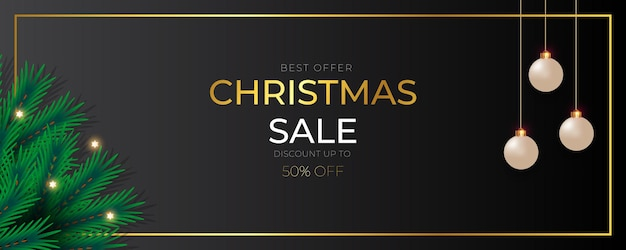 Christmas banner  sale post  with  pine branch christmas ball golden text and star light