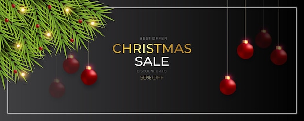 Christmas banner  sale post  with  pine branch christmas red ball golden text and star light