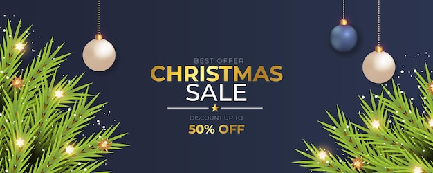 Christmas banner sale post with pine branch golden christmas ball and light