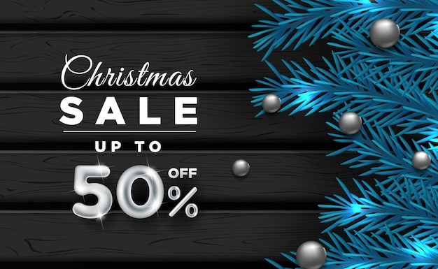 Christmas banner sale with decorative elements c