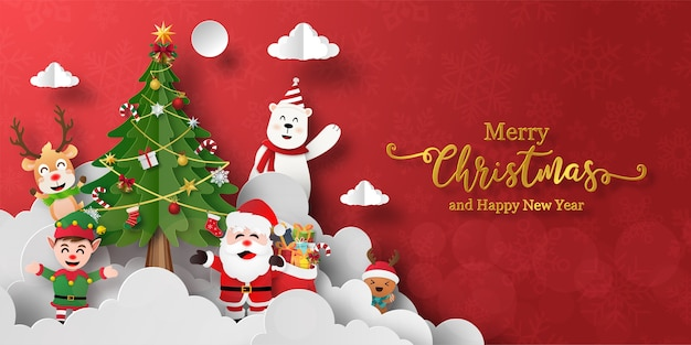 Christmas banner of santa claus and friends with christmas tree