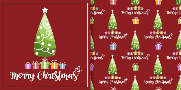 Christmas banner and seamless pattern of christmas tree with colorful gift boxes on red background