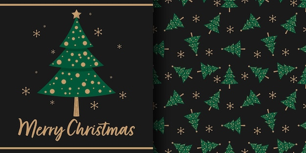 Christmas banner and seamless pattern of christmas tree with snowflakes on black background