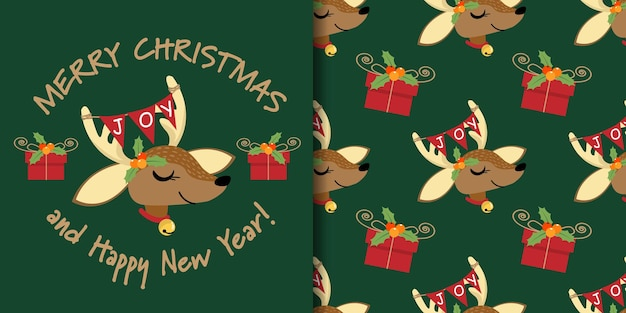 Christmas banner and seamless pattern of reindeer with joy text flag and gift box