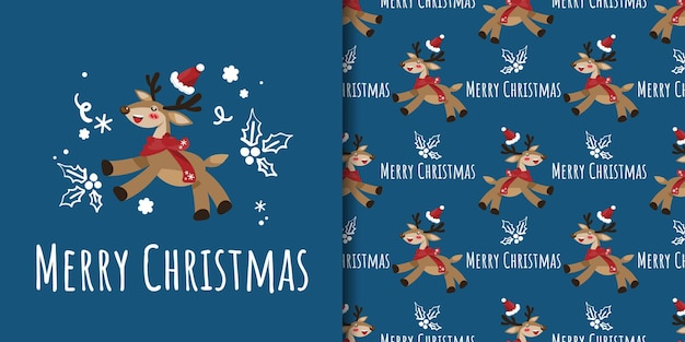 Christmas banner and seamless pattern of reindeer with santa hat and holly berry branch doodle