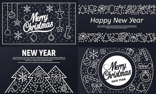 Christmas banner set. outline set of christmas vector banner