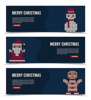 Christmas banner set for social media with knitted characters