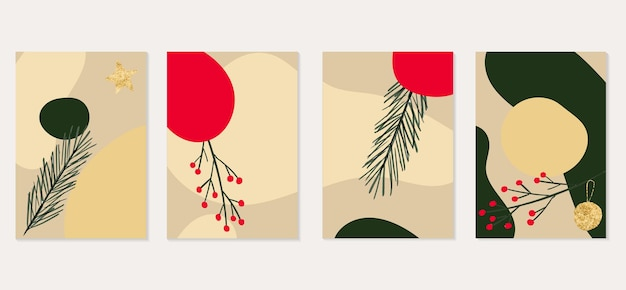Christmas banner set with abstract shapes gold star ball holly berry fir tree branch empty card
