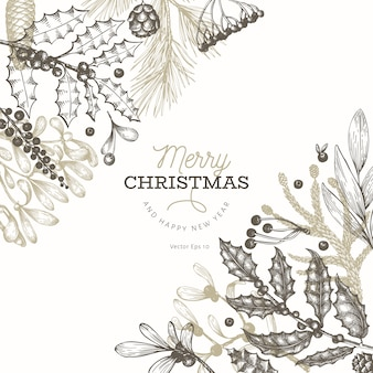 Christmas banner template. hand drawn illustrations.