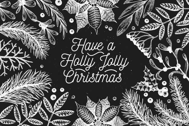 クリスマスバナーテンプレート。チョークボード上のベクトル手描きイラスト。ヴィンテージスタイルのグリーティングカードのデザイン。冬の背景