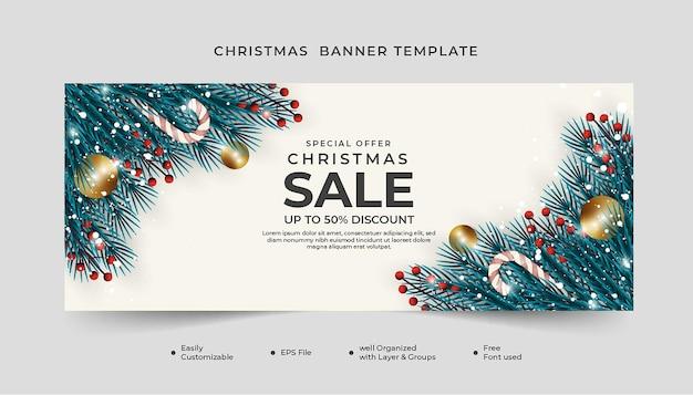 사탕 지팡이와 크리스마스 공 크리스마스 배너 템플릿