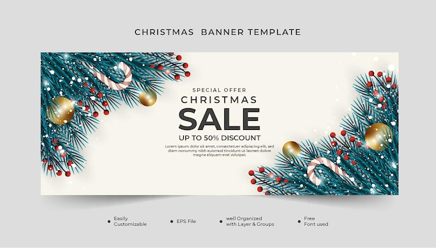 Christmas banner template with candy cane and xmas balls