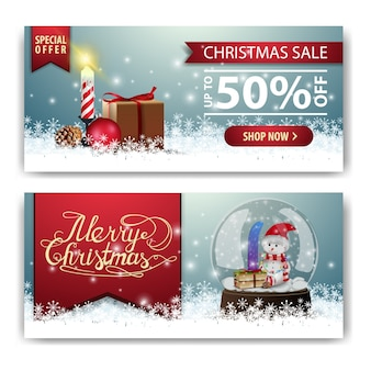 Christmas banner template with gifts and snow globe