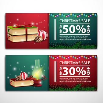 Christmas banner templates with antique lamp and books