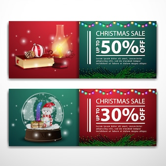 Christmas banner templates with book and snow globe