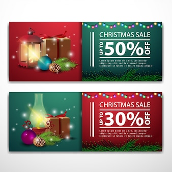 Christmas banner templates with gifts and antique lamp