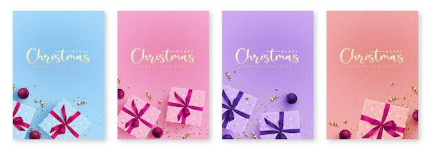 배경으로 선물 엽서와 벡터 새 해 그림의 크리스마스 배너 템플릿 세트