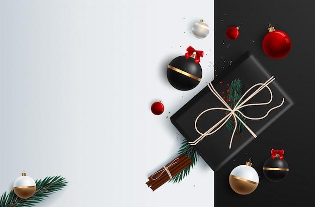 メリークリスマスのグリーティングのタイポグラフィとギフトや装飾品のようなカラフルな要素を持つクリスマスバナーベクトル背景テンプレート