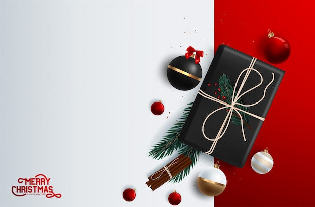 Christmas banner vector background template with merry christmas greeting typography and colorful elements like gifts and decorations