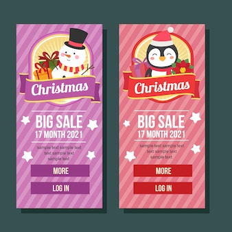 Christmas banner vertical cute characters