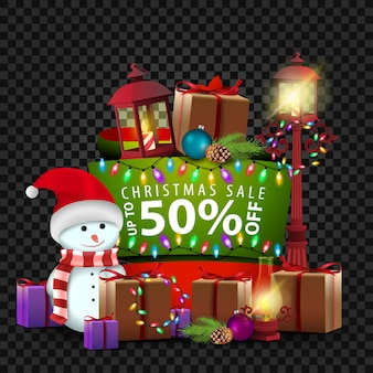 Christmas banner with 50 sale, snowman and gifts