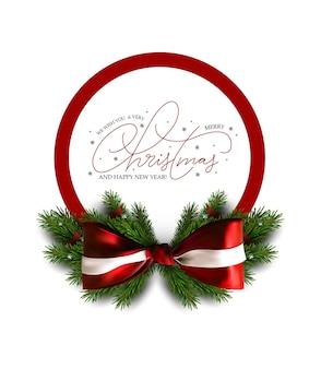 Рождественский баннер с бантом и ветвями рождественской елки. праздничная распродажа баннер. векторный рождественский шаблон