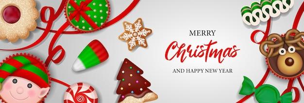 사탕 쿠키와 케이크가 있는 크리스마스 배너