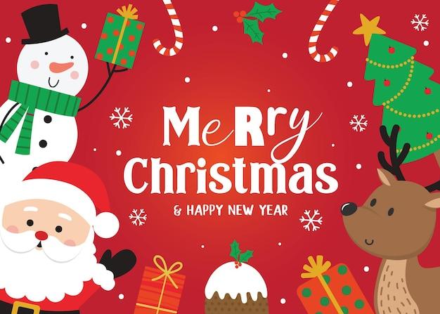 귀여운 크리스마스 캐릭터, 벡터 일러스트와 함께 크리스마스 배너