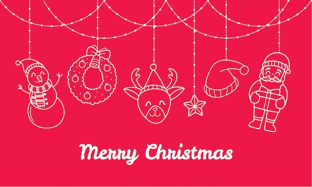 Christmas banner with cute decorations
