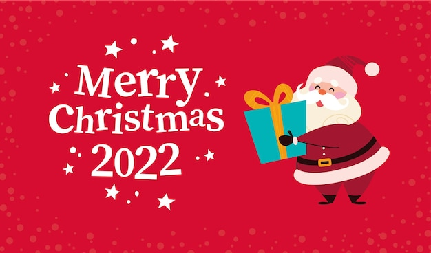 Christmas banner with cute happy winter santa claus character hold gift box and text merry christmas greeting on red snowy background. vector flat illustration. for cards, packaging, web, invitation.