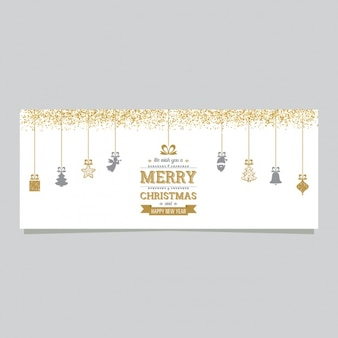 Christmas banner with decoration and golden confetti