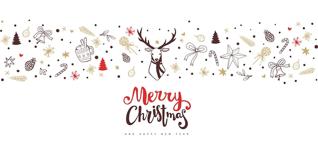 Christmas banner with deer and holiday elements