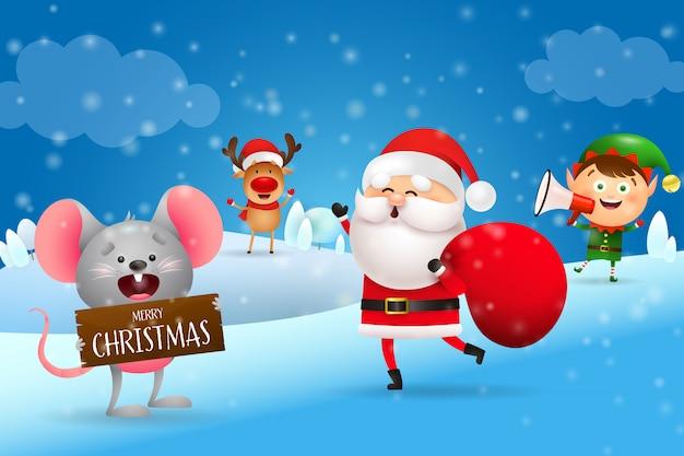 興奮したサンタクロースとクリスマスバナー