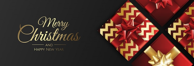 Christmas banner with gifts  merry christmas card