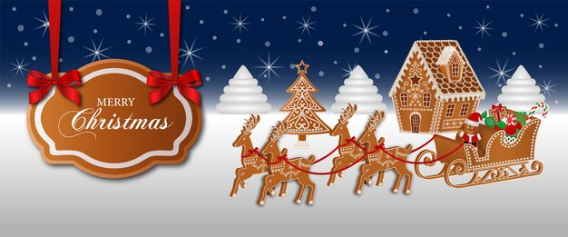 ジンジャーブレッドハウスとサンタクロースのそりとクリスマスバナー
