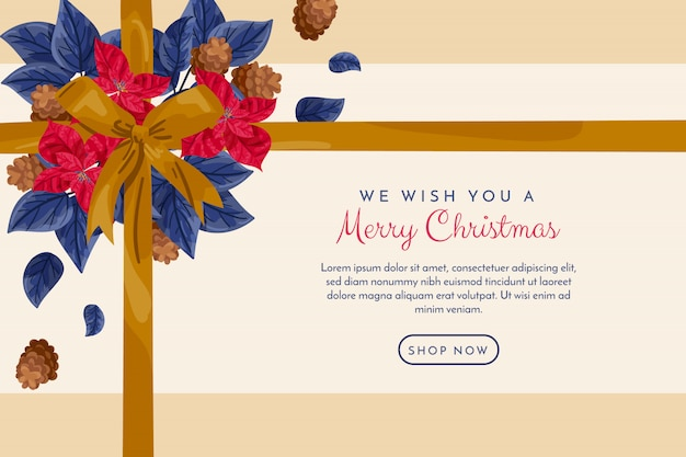 Christmas banner with golden ribbon