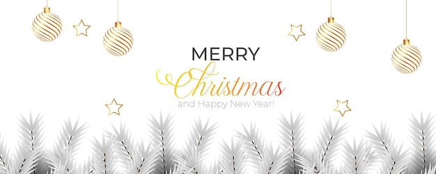 Christmas banner with gray color pine branch and gold christmas ball