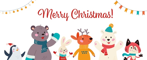 귀여운 겨울 동물의 그룹과 함께 크리스마스 배너입니다. 북극곰, 사슴, 펭귄, 여우, 고립 된 토끼. 벡터 평면 만화 일러스트 레이 션. 카드, 초대장, 플래카드, 포장용.