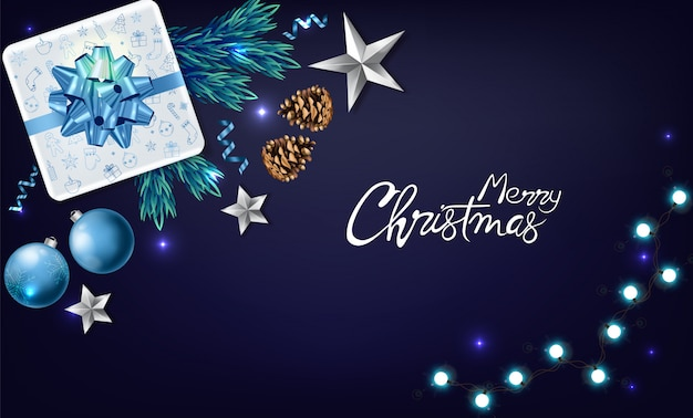 Christmas banner with holiday ornaments