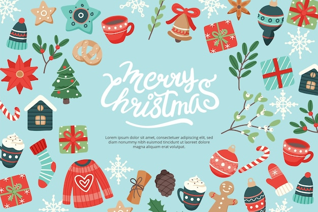 Christmas banner with lettering and cute seasonal elements