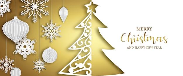 Рождественский баннер с бумажными елочными шарами и снежинками