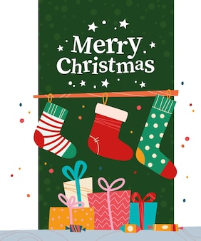 녹색 배경에 선물 상자, 사탕, 크리스마스 스타킹 및 텍스트 메리 크리스마스 인사말 더미와 함께 크리스마스 배너. 벡터 평면 그림입니다. 카드, 포장, 웹, 초대장용.