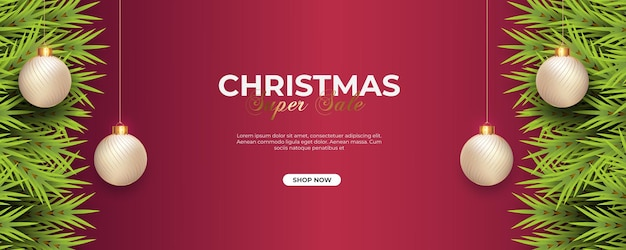 Christmas banner with pine branch  christmas ball and  light