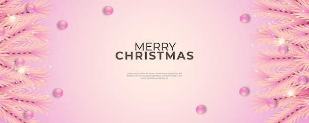 Christmas banner with pink background and pink christmas ball